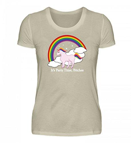 Shirtee Hochwertiges Damen Organic Shirt - Einhorn Party High Heels Beige