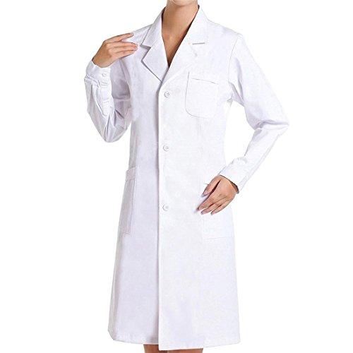 Laborkittel Damen Herren Kittel Medizin weiß Baumwolle Druckknöpfe (M, Weiblich)