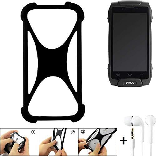 K-S-Trade Handyhülle für Cyrus CS 30 Schutzhülle Bumper Silikon Schutz Hülle Cover Case Silikoncase Silikonbumper TPU Softcase Smartphone, schwarz (1x), Headphones