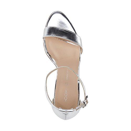 Cox Damen Glamour-Sandalette Silber