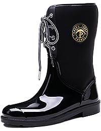 Brooklyn Walk New Design Women's Mid-Calf Rain Boots Ladies Flexible Neoprene Lace-up Rubber Gum Boots 36-40 EU