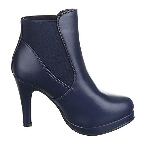 Chaussures, b2916–pB hIGH hEELS femme, bottines à plateforme Bleu - Bleu foncé