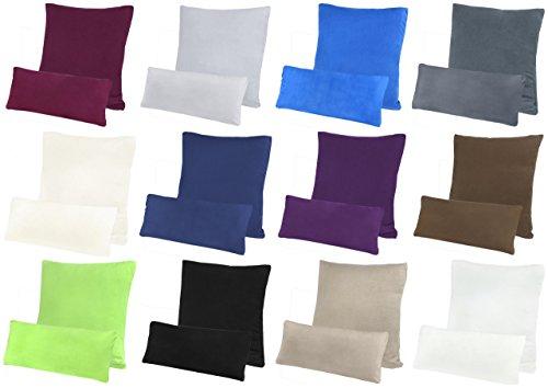 Premium Jersey Kissenbezug Kopfkissenbezug Kissenhülle Seitenschläferkissen 2er Set Sparpack 100% Baumwolle mit Reißverschluss (40x145 cm 2er Pack (für Seitenschläferkissen), Lila / Pflaume)
