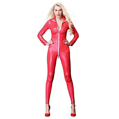 wäsche Frauen sexy Kunstleder Overall für nachtclubwear Wet Look Vinyl Catsuit Latex Body reißverschluss geöffneter Gabelung PVC Trikot kostüm (Farbe: rot, größe: m) ()