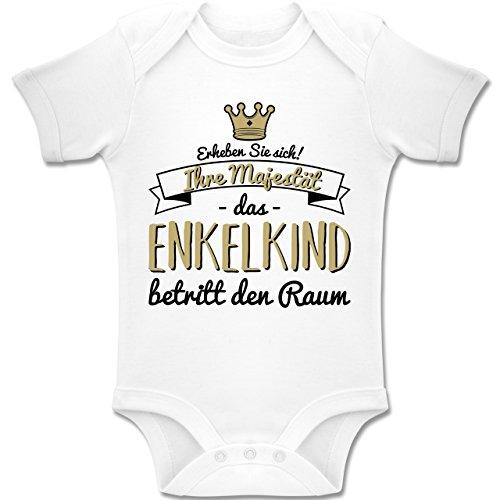Shirtracer Sprüche Baby - Ihre Majestät das Enkelkind betritt den Raum - 1-3 Monate - Weiß - BZ10 - Baby Body Kurzarm Jungen (Feuerwehr Strampler Kostüm)