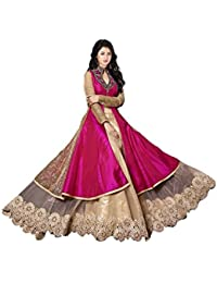 Myozz Pink Banglori Silk Semi Stitched Free Size Salwar Suit Sets For Women Gowns Girls Party Wear ( New Collection...