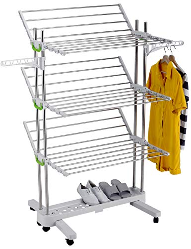 MYLL Edelstahl Wäscheständer 3 Etagen mit Rollen (3. Gen.), Turmwäscheständer Klappbar, für Wäschetrockner Balkon