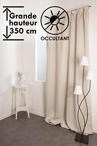 Rideau Occultant 140 x 350 cm Grande Hauteur à Galon Fronceur Matière Soyeuse Uni Écru