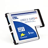 CSL – USB 3.0 Super Speed PCMCIA Express Card Karte (54mm / 2 Port / Windows 10 fähig) für Notebook Laptop | USB Hub intern