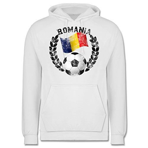 EM 2016 - Frankreich - Romania Flagge & Fußball Vintage - Männer Premium Kapuzenpullover / Hoodie Weiß