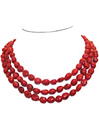 TreasureBay FAB - Collar de coral natural (8 x 10 mm, incluye caja de regalo), color rojo