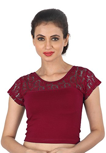 NAMI Maroon Net Stretchable Cotton Lycra saree Blouse Crop Top For Women