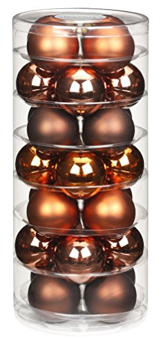 Inge-glas Lot de 28 Boules de Noël 15183D002-MO, Assortiment Copper et Brown, 45 mm de diamètre, Couleurs cuivre, Amaretto, Cacao