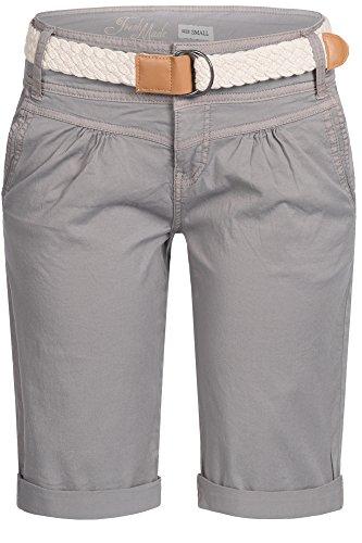 FRESH MADE Damen Cuba Chino Shorts Bermuda kurze Hose inkl. Gürtel D6053Z60080 Pastel XS S M L XL Taupe