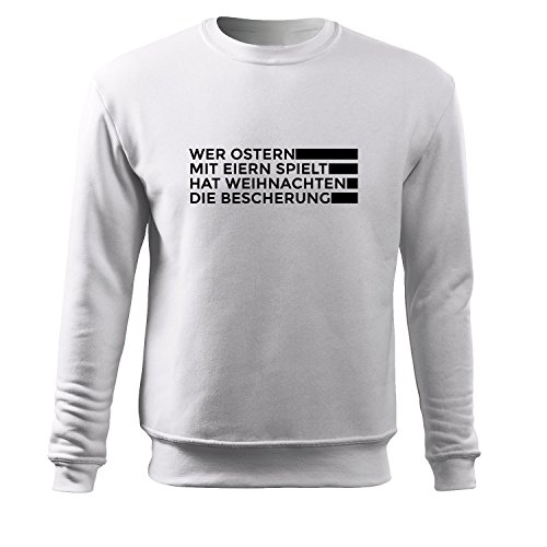 Herren Wer Ostern mit eiern spielt... Pullover Sweatshirt schwarz & weiß- Sweat Hooded bedruckt aufdruck mit Motiv - Neu S - XXXL - Shopper Tasche Gratis (Adler - Weiß - (Kostüm College Design)