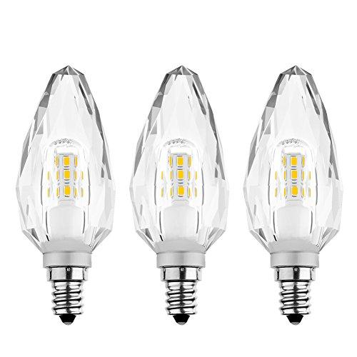 LEDERA E14 SES 5W LED Filament Birnen Kristall Kerze Lampe Warmweiss 2700K 500LM 220V-240V 360° Winkel für Glass Kronleuchter, Ersatz für 50W Halogenlampen, 3 Jahre Garantie, 3 Stücker