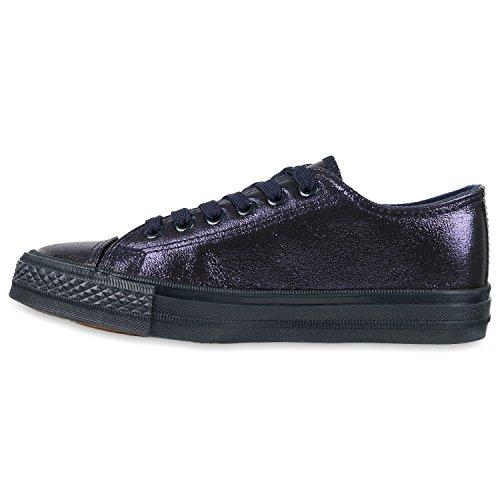 Damen Sneakers Low Sportliche Turnschuhe Freizeit Canvas Schuhe Dunkelblau