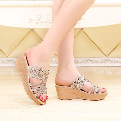 ZPPZZP Ms sandali pantofole trapano artificiale spessa Paju e fondo piatto 36EU