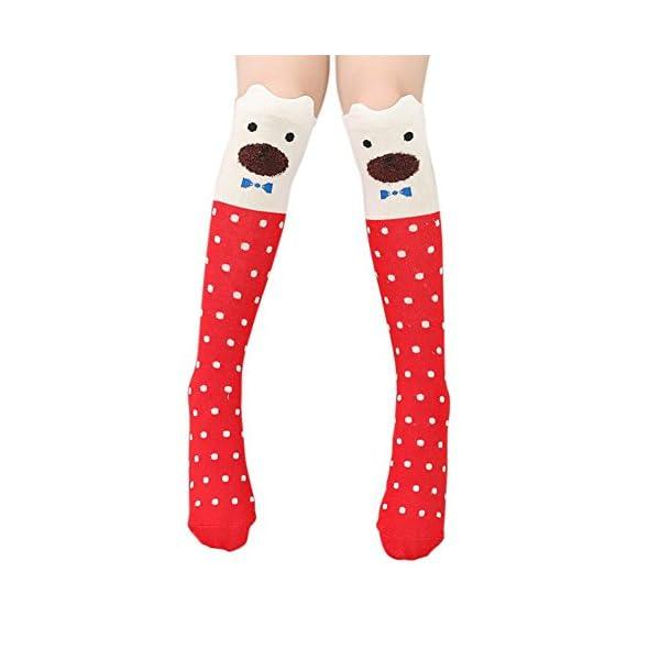 Blaward Baby Kids calcetines hasta la rodilla animal print lindo calcetines largos de algodón para niñas 3-12 años 2