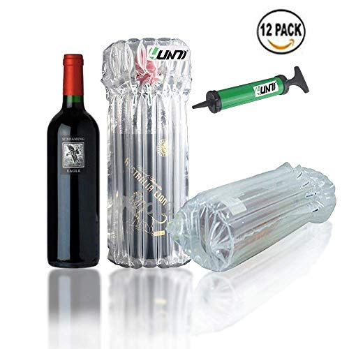 Yuanj Aufblasbare Schutztasche Anti-Schock-Glasflaschen, die Taschen verpacken für Weinflaschen-12pcs
