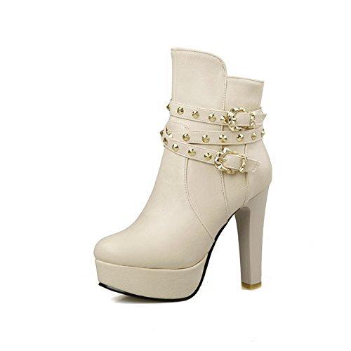 AllhqFashion Damen Hoher Absatz Rund Zehe Blend-Materialien Reißverschluss Stiefel Cremefarben