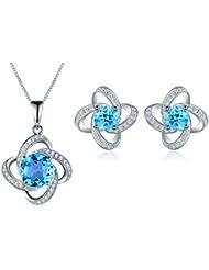 Aischalove natural Topacio azul suizo joyas 925 pendientes de plata & 45cm colgante, collar para las mujeres de noviembre birthstone joyas finas