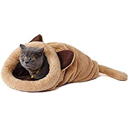 PAWZ Road Cat Sleeping Bag Fleece Soft Self Warming Camas Lavables para Gatos Snuggle Sack Matket Kitty Sack Adecuado para Gato y Cachorro Amarillo 60 * 58cm