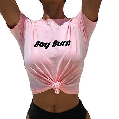 AmazingDays Chemisiers T-Shirts Tops Sweats Blouses,Femme T-Shirt à Manches Courtes Occasionnels Lettre DImpression pink