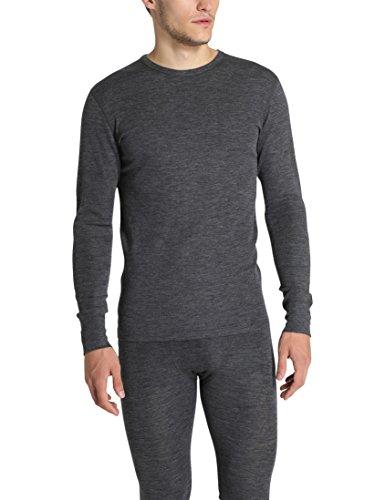 Wolle-unterwäsche Langarm (Ultrasport Herren Pure Funktions-unterhemd Langarm, Dunkelgrau Melange, XL)