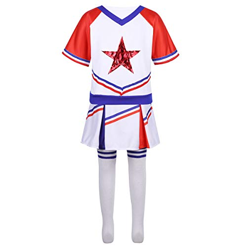 Freebily Kinderkostüm Cheer Mädchen Cheerleading Kostüm Outfit Ärmelloses Crop Top Rock Socken Set Dancewear Set für Karneval Fasching Cosplay Kostüm Rot&Blau 128-140/8-10 Jahre