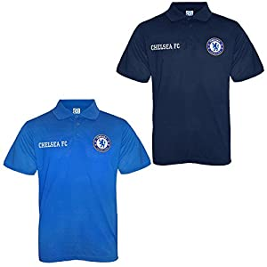 Chelsea FC Official Football Gift Boys Crest Polo Shirt Navy