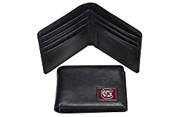 NCAA South Carolina Fighting Gamecocks Men's Leather RFiD Safe Travel Wallet, 4.25 x 3.25