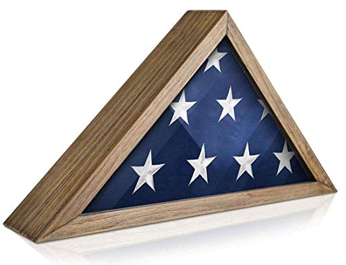 IK HAPPY Flag Box Solid Wood Military Flag Display Case for 9.5 x 5 American Veteran Burial Flag, Wall Mounted Burial Flag Frame, Flag Shadow Box to Display Folded Flag. (Verwittertes Holz) (Frame Display Case Shadow Box)
