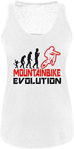 EZYshirt® Mountainbike Evolution Damen Tanktop Weiss/Schwarz/Rot
