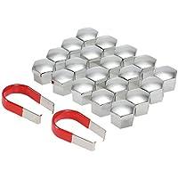 KKmoon Kit 20 Universal 17mm Tapas Cubierta Perno Tuerca Cromo Plástico para Rueda de Coche