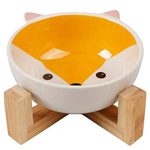 Ht Keramik (TOOGOO Erh?hter Hund Und Katze Haustier Welpen Feeder Premium Keramik Karikatur Druck Hunde Napf Mit Bambus Erh?ht St?nder Perfekt Für Hunde Und Katzen Holz Farbe + Wei? + Gelb)