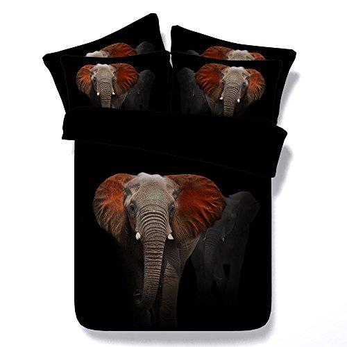 Sticker superb 3D Elefant Bettbezug, 200x200cm Afrikanisches Dekor Natur Thema Afrikanisches Kunsttier Bettbezüge Set mit 2 TLG Kissenbezug (EIN Elefant, 200_x_200_cm) (Afrikanische Tröster)