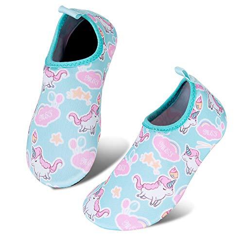 HMIYA Kinder Badeschuhe Wasserschuhe Strandschuhe Schwimmschuhe Aquaschuhe Surfschuhe Barfuss Schuh für Jungen Mädchen Kleinkind Beach Pool(Grün 18 19) (Lv Schuhe)