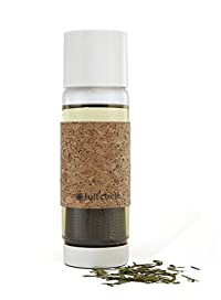 Full Circle Tea Time Insulated Glass Travel Bottle with Tea Infuser and Cork Sleeve, 19-Ounce, Earl Grey