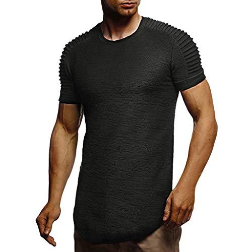 iYmitz Mode Herren Rundausschnitt T-Shirts Beiläufig Schlank Brief ärmelloses Gedruckt Männer Oberteil Tops Sport Heißer Streetwear(Schwarz,44 DE / 2XL CN