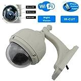 Wanscam Caméra de vidéo-surveillance dôme PTZ extérieure Sans Fil Wifi CCTV Zoom optique 3x IP Filtre IR-cut Processeur RSIC 32 bits Visualisation à distance par iPhone, Windows Mobile, Symbian, Android 10,6 cm
