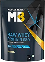 MuscleBlaze Raw Whey Protein Concentrate 80% with added digestive enzymes (Unflavoured, 1 kg / 2.2 lb, 33 Serv