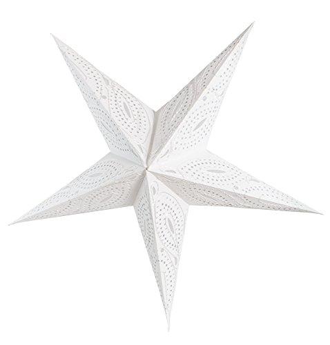 BRUBAKER Falt Weihnachtsstern 5 Zacken Weiß mit verschlungener Zierstickerei in Silberweiß - 60 cm