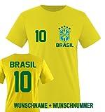 Comedy shirts Coupe Coupe du Monde 2014Brésil–Nom et Numéro personnalisé–T-shirt pour enfant–Différentes tailles et couleurs 122/128 cm BRASILIEN Wunsch | Gelb