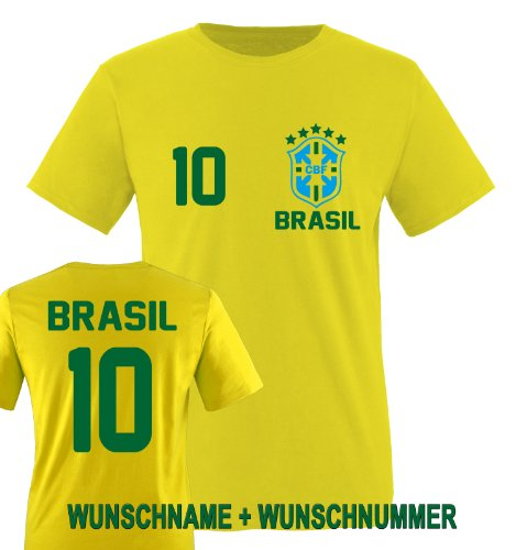 Comedy Shirts - BRASILIEN WM 2014 - Wunsch Kinder T-Shirt - Gelb/Grün-Blau Gr. 134-146 -