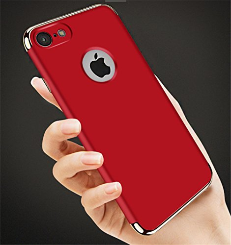 "iPhone 7 4.7"" Case,Heyqie 3 in 1 Ultra-thin 360 Full Body Anti-Scratch Shockproof Hard PC Non-Slip Skin Smooth Back Cover Case with Electroplate Bumper For Apple iPhone 7 4.7"" - Black Red"