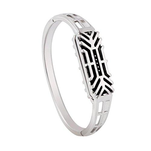 HKFV Gorgeous de Clase Alta Creativo Encantador Moda Cobre Puro Accesorio Brazalete Reloj Banda Correa de Muñeca para Fitbit Flex 2, Plateado