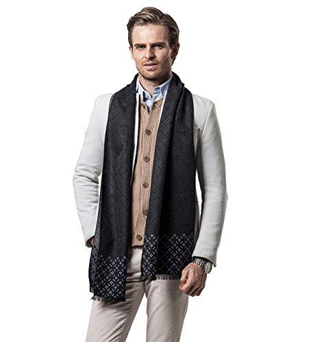 W.Best Winter Herbst Herren Strickschal Wolle Gestrickter Plaid Schal Business Casual Gentleman Schals 180*30 cm Große Herren Schals
