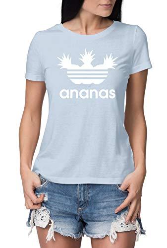 Damen T-Shirt mit Aufdruck Ananas - KÖRPERBETONT (evtl. größer wählen) - Hochwertige ENG Anliegende Tshirts in Topqualität - lustiges T Shirt Bedruckt mit Logo Print und Spruch SkyBlue-Weiß M
