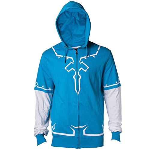 Zelda Kapuzenpullover Links Breath Of The Wild outfit Nue offiziell Herren Blau (Das Outfit Blu-ray)